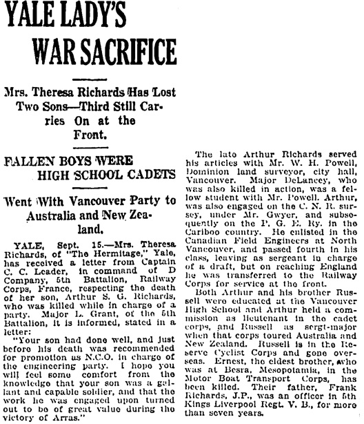 Vancouver Daily World, September 15, 1917, page 13, column 2.