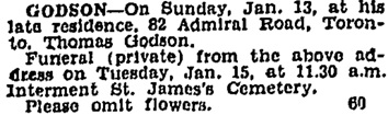 Toronto Globe, January 14, 1929, page 14, column 1.