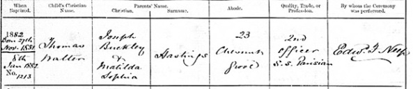 Ancestry.com. Liverpool, England, Church of England Baptisms, 1813-1917 [database on-line]. Provo, UT, USA: Ancestry.com Operations, Inc., 2011. Liverpool Record Office; Liverpool, England; Reference Number: 283 BOO/2/2. Name: Thomas Walter Hastings; Age: 0; Birth Date: 27 Nov 1881; Baptism Date: 8 Jan 1882; Baptism Place: Bootle, St Mary, Lancashire, England; Father: Joseph Buckley Hastings; Mother: Matilda Sophia Hastings.