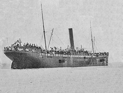 Transport Matteawan, the vessel that transported the Bates Independent Brigade, 20th U.S. Infantry, and the 2nd Cavalry to Cuba; http://www.spanamwar.com/Matteawan.htm.