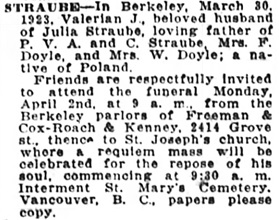 Oakland Tribune (Oakland, California), April 1, 1923, page 2, column 1.