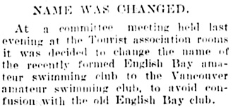 Vancouver Daily World, August 19, 1905, page 15, column 4.