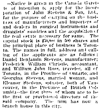 Vancouver Daily World, September 6, 1895, page 8, column 3.