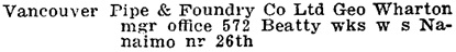 Henderson's Greater Vancouver Directory, 1912, Part 2, page 1276 [edited image].