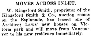 Vancouver Daily World, July 27, 1908, page 8, column 2.