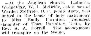Vancouver Daily World, April 19, 1894, page 4, column 2.