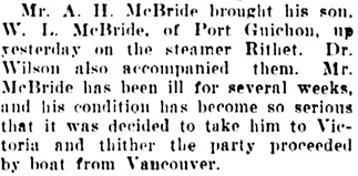 Vancouver Daily World, February 8, 1906, page 7, column 3.