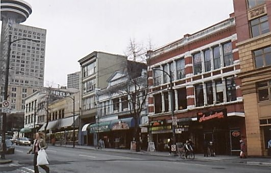 West Hastings Street, north side, between Homer Street and Cambie Street, courtesy of Gwyneth MacKenzie.