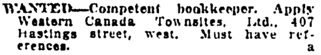 Vancouver Daily World, March 7, 1912, page 28, column 1.