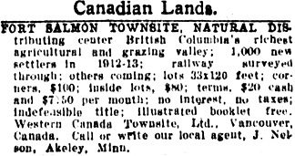 Star Tribune (Minneapolis, Minnesota); November 20, 1913, page 21, column 6.