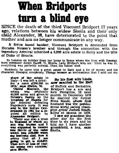 """When Bridports Turn a Blind Eye,"" by Nigel Dempster, Daily Mail (London, England), July 21, 1986; page 15."