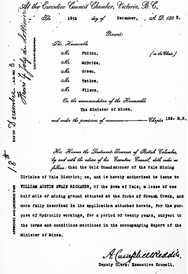 William Austin Swain Richards, lease at forks of Siwash Creek; British Columbia Order in Council 626/1903; http://www.bclaws.ca/civix/document/id/oic/arc_oic/0626_1903.