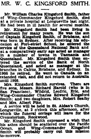 The Sydney Morning Herald (New South Wales), November 3, 1930, page 10, column 4; https://trove.nla.gov.au/newspaper/article/16727443.