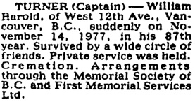 Vancouver Province, November 17, 1977, page 40; Vancouver Sun, November 16, 1977, page D7.