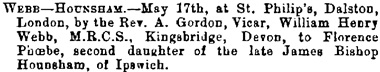 Births, Deaths, Marriages and Obituaries, The Essex Standard, West Suffolk Gazette, and Eastern Counties' Advertiser (Colchester, England), Issue 2424, May 25, 1877; page 8.