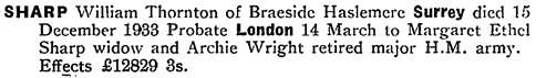 Ancestry.com. England & Wales, National Probate Calendar (Index of Wills and Administrations), 1858-1966, 1973-1995 [database on-line]. Provo, UT, USA: Ancestry.com Operations, Inc., 2010. Original data: Principal Probate Registry. Calendar of the Grants of Probate and Letters of Administration made in the Probate Registries of the High Court of Justice in England. London, England © Crown copyright. Name: William Thornton Sharp; Death Date: 15 Dec 1933; Death Place: Surrey, England; Probate Date: 14 Mar 1934; Registry: London, England.
