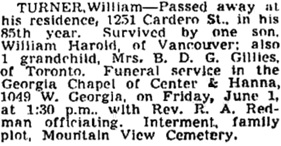 Vancouver Province, May 31, 1951, page 31; Vancouver Sun, May 31, 1951, page 27.