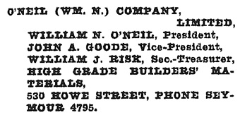 Henderson's Greater Vancouver Directory, 1922, page 981.