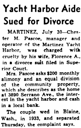 Oakland Tribune (Oakland, California),  July 30, 1955, page 12, columns 1-4.