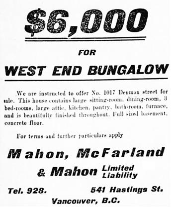 Vancouver Daily World, November 7, 1906, page 10, columns 1-2.