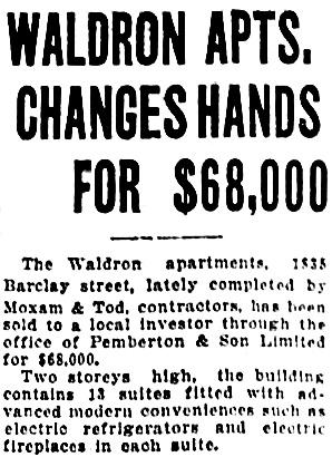 Vancouver Sun, November 29, 1927, page 15, column 5.