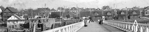 1901 Beach Avenue; Beach Avenue from English Bay Pier, about 1909; detail from postcard. Arrow on right points to 1901 Beach Avenue.