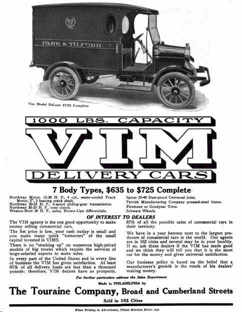 1915 VIM Delivery Wagon advertisement, http://www.earlyamericanautomobiles.com/advertising12.htm.
