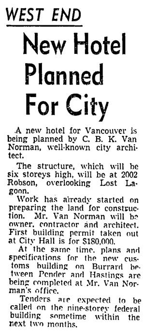 Vancouver Sun, January 3, 1951, page 17, column 1.