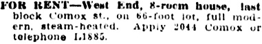 Vancouver Daily World, February 11, 1910, page 36, column 6.