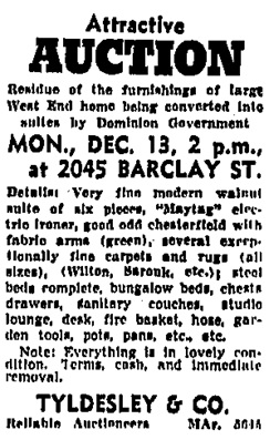 Vancouver Sun, December 11, 1943, page 24, column 8.