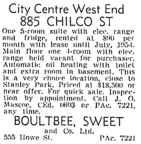 Vancouver Sun, October 28, 1953, page 44, column 7.