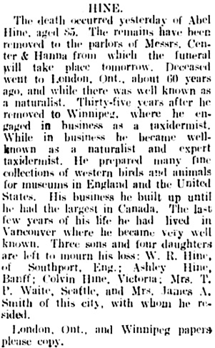 Vancouver Daily World, August 3, 1909, page 20, columns 6-7.
