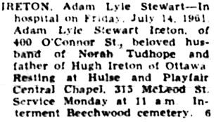 The Ottawa Journal, July 14, 1961, page 33, column 2.