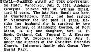 Vancouver Sun, July 4, 1931, page 22; https://news.google.com/newspapers?id=cy5lAAAAIBAJ&sjid=zYgNAAAAIBAJ&pg=2407%2C425292 [link leads to column 2; death notice is in column 1]; Vancouver Province, July 5, 1931, page 13; Vancouver Province, July 6, 1931, page 13.