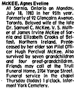 Toronto Globe and Mail, July 21, 1983, page S6, column 3.