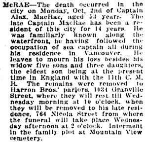 Vancouver Daily World, October 3, 1916, page 14, column 1; Vancouver Province, October 3, 1916, page 15.
