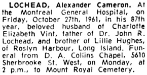 The Gazette (Montreal), October 28, 1961, page 41, column 8.