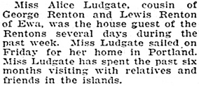 Honolulu Star-Bulletin, November 10, 1925, page 8, column 4.