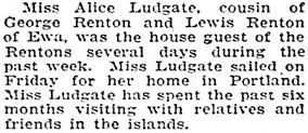 Honolulu Star-Bulletin, November 10, 1925, page 8, column 4.
