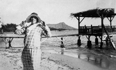 Alice Ludgate in Waikiki, with Diamond Head in the background; Throwback Thursday: Meda's relatives in Hawaii in the 1920s; posted on April 17, 2014 by Ian Lind; http://ilind.net/gallery_2014/renton_hawaii/source/9.html.