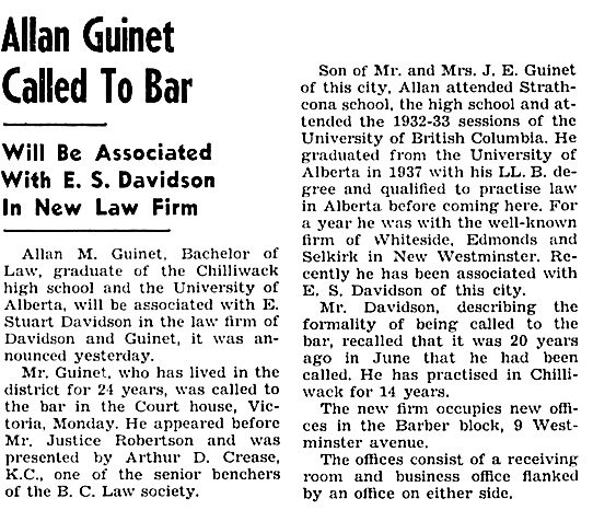 The Chilliwack Progress, January 11, 1939, page 1, column 4.