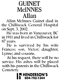 The Chilliwack Progress, September 6, 2002, page 37, column 4.