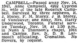 Vancouver Sun, November 17, 1947, page 19, column 2.