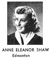 "Anne Eleanor Shaw, University of Alberta Yearbook, ""Evergreen and Gold,"" 1949, Arts and Sciences Undergraduates, page 80."
