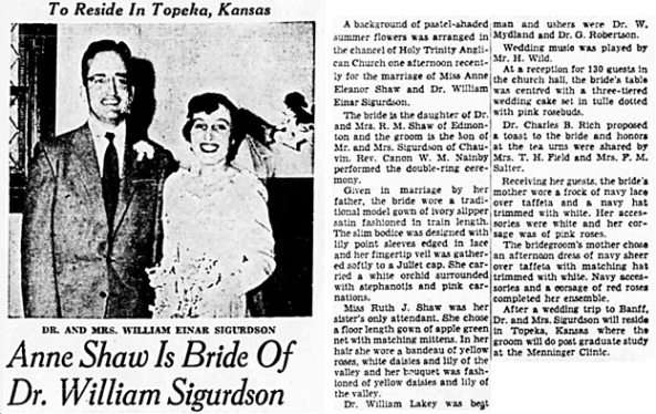 Edmonton Journal (Edmonton, Alberta, Canada), June 21, 1954, page 18, columns 7-8.