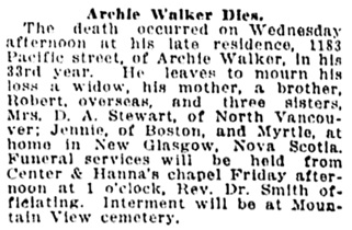 Vancouver Sun, January 17, 1919, page 2, column 4.