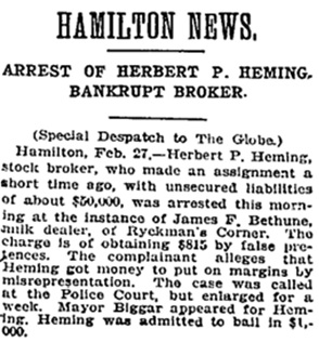 Toronto Globe, February 28, 1906, page 3, column 5 [selected portions].