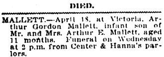 Vancouver Daily World, April 9, 1907, page 7, column 1.