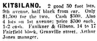 Vancouver Daily World, February 12, 1907, page 10, column 3.