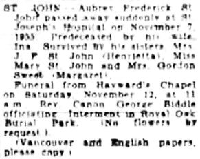 Victoria Daily Colonist, November 9, 1955, page 16, column 2; http://archive.org/stream/dailycolonist1155uvic_6#page/n15/mode/1up. [Best available copy].
